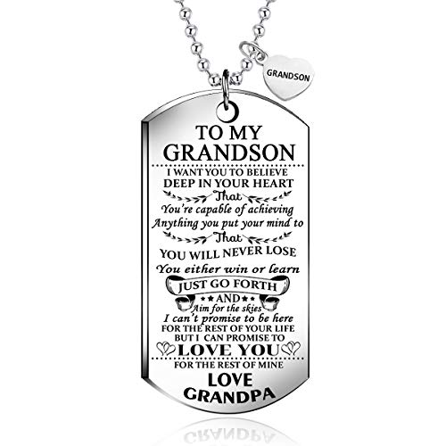 NOVLOVE to My Grandson from Grandpa I Want You to Believe Love Mom Dog Tag Military Air Force Navy Coast Guard Necklace Ball Chain Gift for Best Son Birthday and Graduation