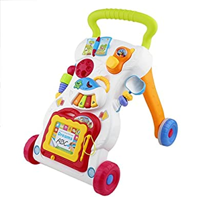 Baby Walker Multifunctional Toddler Trolley Sit-to-Stand Walker for Kid's Early Learning with Adjustable Screw: Sports & Outdoors