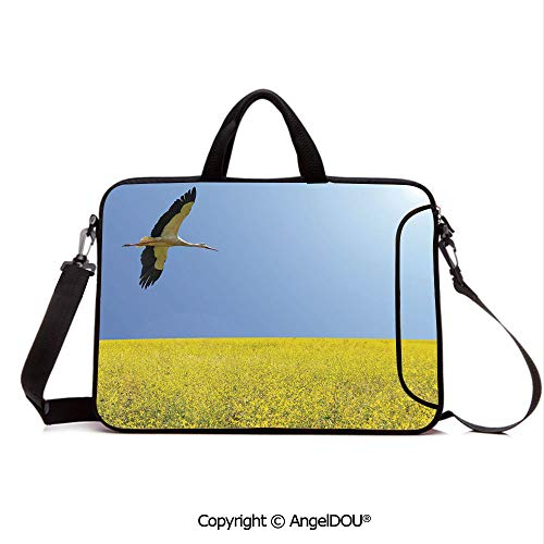 AngelDOU Customized Neoprene Printed Laptop Bag Notebook Handbag Alone Stork Flying in Clear Sky Over Spring Flowering Field Freedom Picture Compatible with mac air mi pro/Lenovo/asus/acer Multic