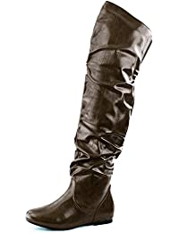 Women's Fashion-Hi Over-the-Knee Thigh High Flat Slouchly Shaft Low Heel Boots
