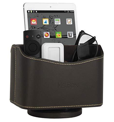 Leather Remote Control Organizer - Ms.Box Spinning Remote Caddy, Media Storage Organizer, Remote Control Holder Organizer, Remote Caddy, Brown PU Leather, 7.3X 5.5 x 6 inches