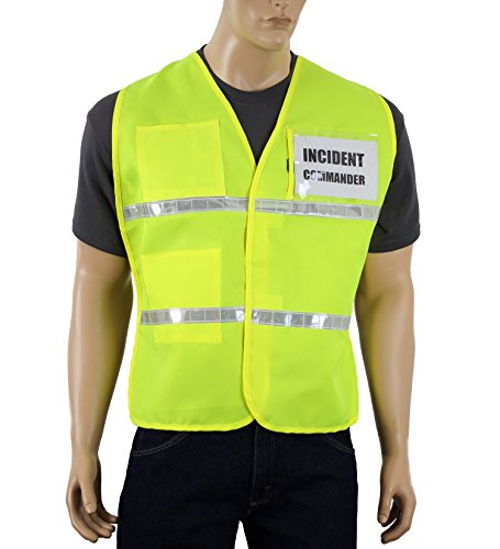 Safety Depot Incident Command Vest with Clear Pockets and Velcro Closure Hi-Viz Lime Reflective Safety Vest (Small/Medium) Safety Depot IC100 (Clear Title Pocket)