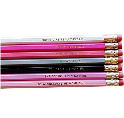 Mean Girls Pencil Set Youre Like Really Pretty Gold Engraved Pencils Back Office Gift Funny Pencils]()