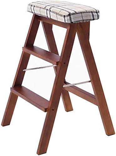DY Escalera Plegable Walker heces / 3 Escalera, Asiento Esponja de Madera, Esponja de los Asientos, Silla de Oficina Taburete Alto de 150 kg en Brown (Size : Stripe): Amazon.es: Hogar