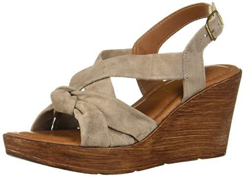Bella Vita Women's Wes-Italy Slingback Sandal Shoe, Almond Italian Suede Leather, 11 2W US