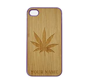 SudysAccessories Personalized Customized Custom Marijuana Leaf On Wood Engraved Purple iPhone 4 Case - For iPhone 4 4S 4G - Designer Real Bamboo Back Case Verizon AT&T Sprint(Send us an Amazon email after purchase with your choice of NAME)