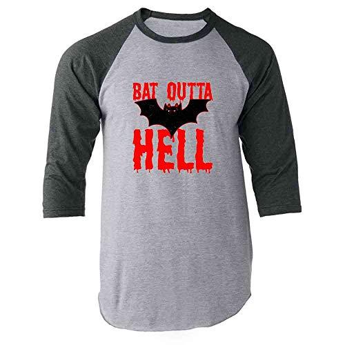 Pop Threads Bat Outta Hell Horror Halloween Gray L Raglan Baseball Tee Shirt]()
