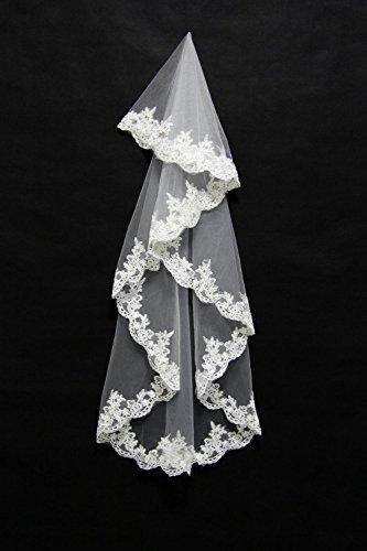 Lydia Elegant wedding veil double blush veil 1.5 m bride church veil decals lace edge , ivory , 1.5m
