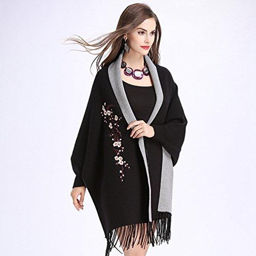 Punto De Gris WanYang Chal Pañuelos Del Negro Cárdigan Abrigo Mujer Creativo De Mujeres Para Bordados Suéter zq47A