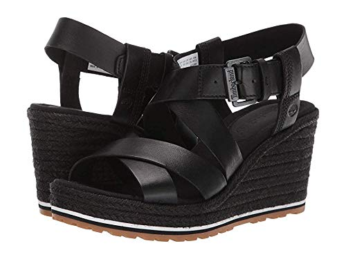 Timberland Women's Nice Coast Ankle Strap Sandal Black Full Grain 6.5 B - Woven Strap Ankle Sandals