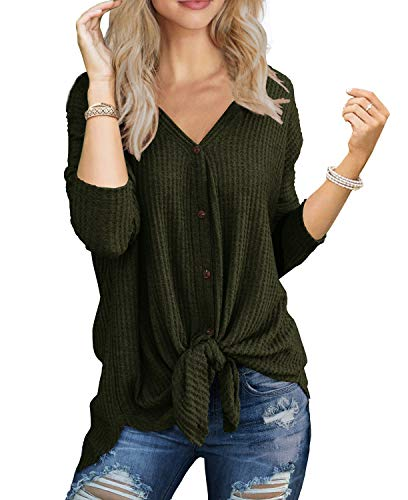 - IWOLLENCE Womens Loose Henley Blouse Bat Wing Long Sleeve Button Down T Shirts Tie Front Knot Tops Army Green L