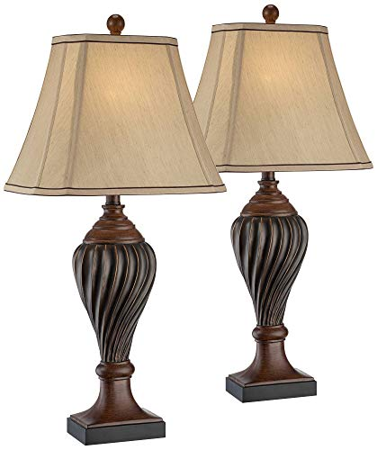 Traditional Table Lamps Set of 2 Carved Two Tone Brown Urn Beige Rectangular Shade for Living Room Family Bedroom - Regency Hill
