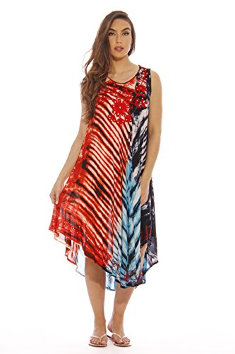 21502-1X Riviera Sun Summer Dresses / Swimsuit Cover Up,Americana Tie Dye,1X Plus