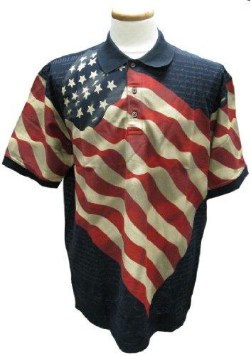Navy Allover Patriotic Polo Shirt - XX-Large