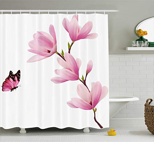 Ambesonne Nature Shower Curtain, Blossom Branch of Pink Flowers and Butterflies Fresh Spring Season Image, Fabric Bathroom Decor Set with Hooks, 70 Inches, Burgundy Maroon