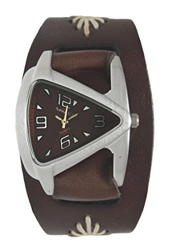 Jr. Brown Ladies Teardrop Watch w/ Brown Diamond Stitched Leather Cuff Band 20mm, BBF024B