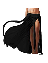 Zimaes-Mujer Vestido de playa corto gasa longitud completa falda dividida cubierta arriba