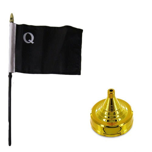 Moon William Quantrill Raiders 4''x6'' Flag Desk Set Table Stick Staff Gold Base - Vivid Color and UV Fade Resistant - Prime Outside Garden Home - Knife Raider Marine