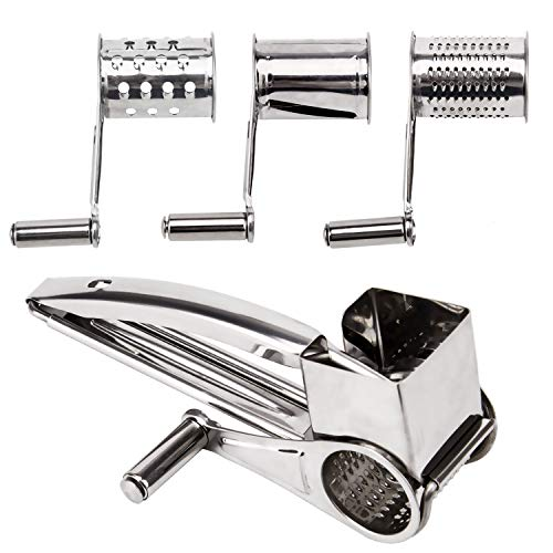 LUTER Rotary Cheese Grater Stainless Steel Cheese Vegetable Cutter Slicer Shredderfor Parmesan Cheese,Nut,Kitchen,Garlic,Ginger,Carrot -3 Interchanging Ultra SharpCylinders Drums & Slicer