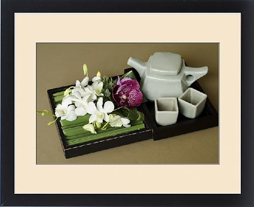 Framed Print of Thailand, Bangkok. Traditional Thai tea pot and cups with orchid arrangement by Fine Art Storehouse