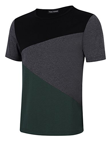 Men's Contrast Color Stitching Crew Neck Short Sleeve Basic T-shirt Top (M, Short Sleeve Green)
