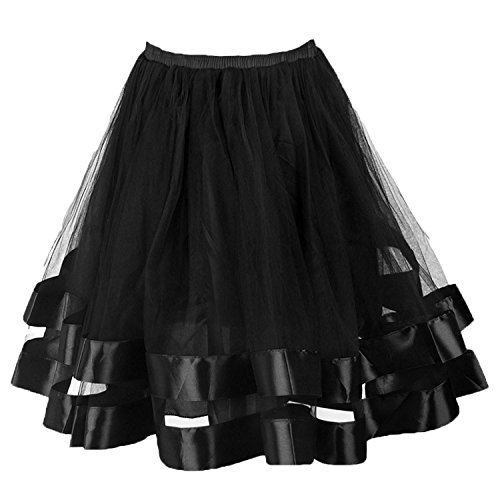 23 Inch Shorts (Topdress Women's 1950s Tutu Short Petticoat Skirt Crinoline Underskirt Slip Black S/M)