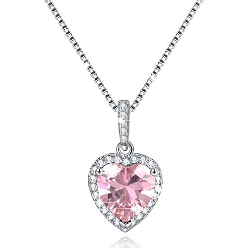 October Pink Simulated Tourmaline Birthstone Necklace Love Heart Necklace Sterling Silver Gifts for - Necklace Pink Heart