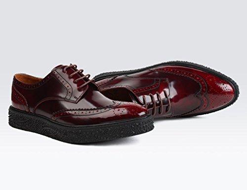 HWF Scarpe Uomo in Pelle Scarpe da uomo in pelle Scarpe da uomo stile inglese a punta appuntita (Colore : Nero, dimensioni : EU39/UK6) Vino Rosso