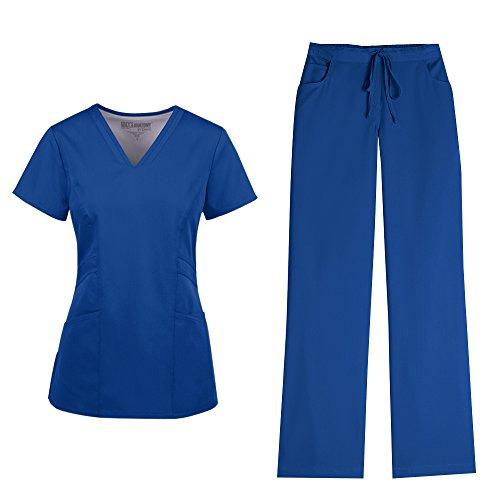 New Women Nursing Scrub (Grey's Anatomy Women's V-Neck Marquis Top 41452 and Drawstring Pant 4232 Scrub Set (New Royal - Small/Small Petite))