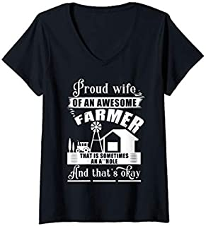 [Featured] Womens Proud Wife Of An Awesome Farmer, I Love My Farmer V-Neck in ALL styles | Size S - 5XL