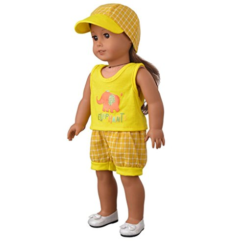 Showking Doll Cloth, Cute Hat & T-shirt & Pants For 18 inch Our Generation American Girl & Boy Doll (Different Types Of Barbie Costumes)