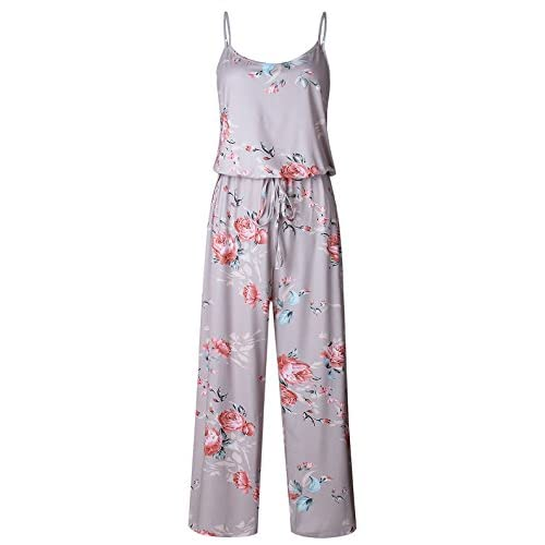 35bb84df8a0d VOGRYE Floral Printed Jumpsuit Women Halter Sleeveless Wide Long Pants  Jumpsuit Rompers
