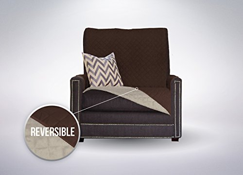 Sofa Shield Reversible Furniture Protector elastic Strap to Keep Cover in Place, Chair - Chocolate/Beige (Chair And Couch Covers)