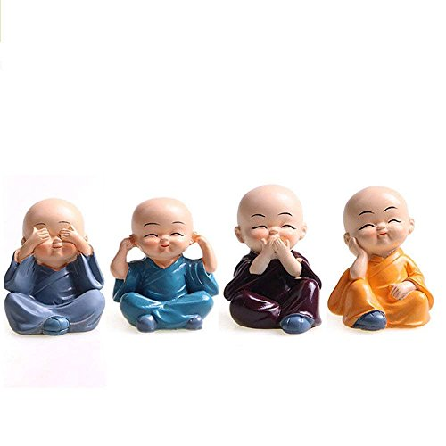 Cute KongFu Monk Car Interior Display Decoration Car Dashboard Ornament Car Home Decor (B) (Interior Decorations Car)