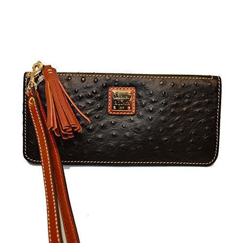 Dooney & Bourke Slim Wallet - Dooney & Bourke Slim Tatum Ostrich emb Leather Wristlet Black