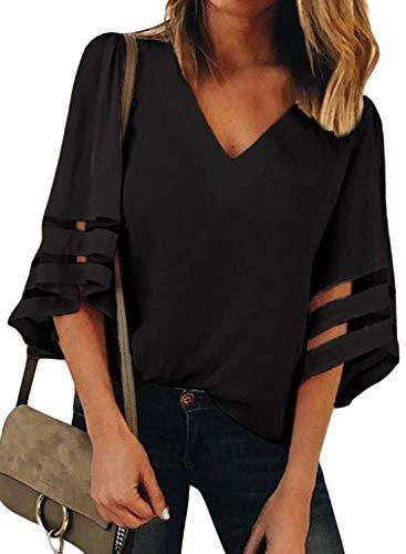 ONLYSHE Casual Office Blouse for Women Comty Shirt Bell Sleeve Henley Tops Black S