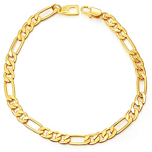 - WELRDFG 18K Gold Plated 5-12 mm Wide Curb Chain Bracelet for Men Women Stainless Steel High Polished,7/18cm-8.5/21.5cm (7.0, 5mm Wide,Figaro Chain,18k Gold Plated)
