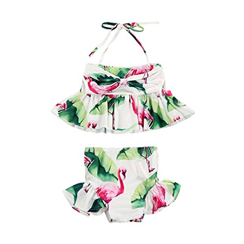 (ITFABS Toddler Kids Baby Girl Flamingo Swimsuits Floral Halter Bathing Suit 2pcs Bikini Set Tankini Swimwear Costume 1-6T (White Green Red,)