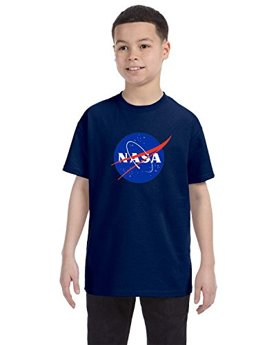 econoShirts NASA Meatball Logo Youth Shirt Space Shuttle Rocket Science Geek Boys Kids GirlsTee (Large, Navy) - Geek Girl Kids T-shirt