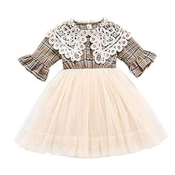 Xifamniy Newborn Girls Spring&Summer Half Sleeve Princess Dress with Lace Collar Shirt Design