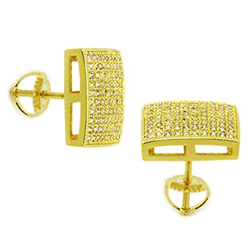 Mens 14k Gold Plated Cz Micro Pave Screw Back Iced Out 10 Row Earrings 05 (14k Dome Earrings)