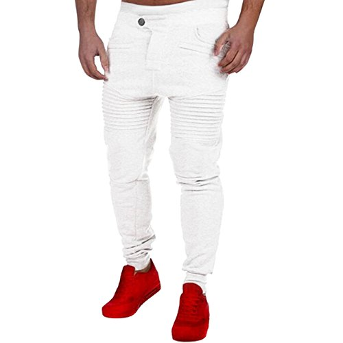 Chen Mens Casual Fashion Jogging Harem Pants Running Dance Trousers Sports Wear (US M, White)
