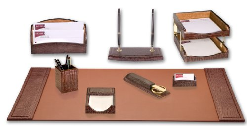 Dacasso Brown Crocodile Embossed Leather Desk Set, 10-Piece