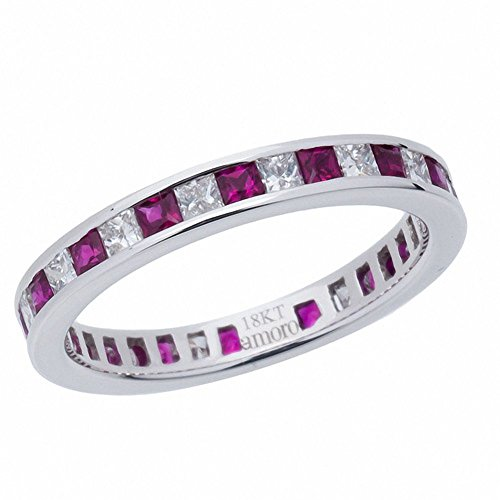 Amoro 18kt White Gold Ruby and Diamond Eternity Band (0.52 cttw, G- H Color, VS2-SI1 (Ruby Diamond Eternity Bands)