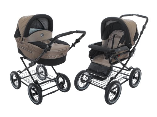 Roan Rocco Classic Pram Stroller 2-in-1 with Bassinet and Seat Unit - Coffee by Roan