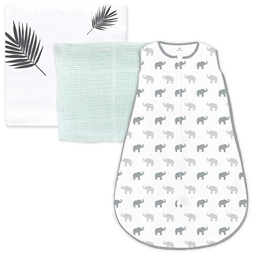 Amazing Baby Gift Set, 3-Piece Set, Cotton Sleeping Sack, Muslin Swaddle, Cellular Blanket, Sunwashed SeaCrystal