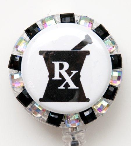 Mortar and Pestle Pharmacist Rhinestone Retractable Badge Reel/ ID Badge Holder