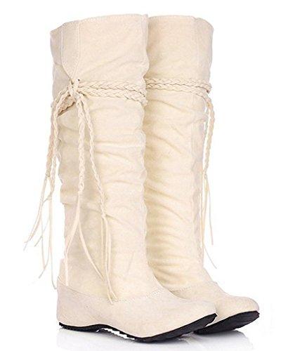 Maybest Women's Fashion Casual Tassel Moccasin High Boots Low Heel Beige 7 B (M) US (Go Go Boots Australia)
