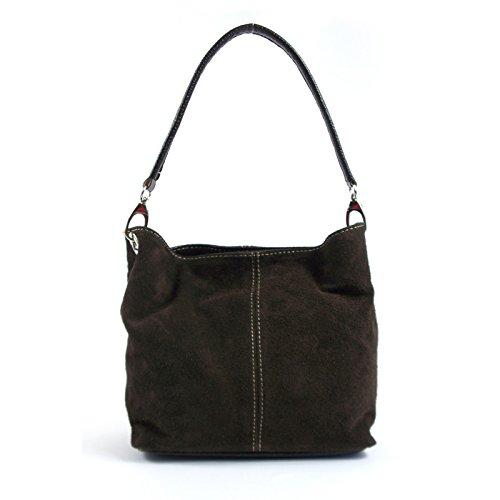 Aossta Ladies Real Italian Suede Leather Medium Shoulder Handbag Tote Hobo Slouch Bag Coffee