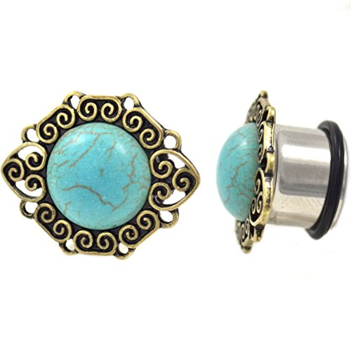 (Pair of Synthetic Turquoise Stone Plugs w/Intricate Edging Single Flared Ear Gauges - 3/4 Inch (19MM))